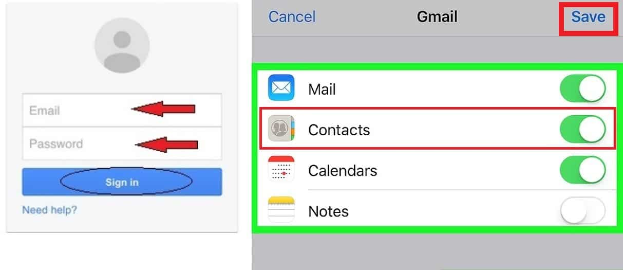 Transfer contacts from android to iphone google