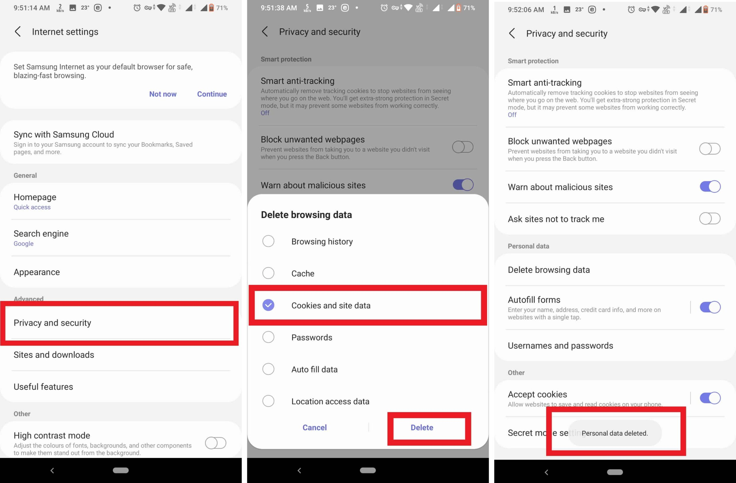 Clear Cookies on Samsung browser for Samsung devices