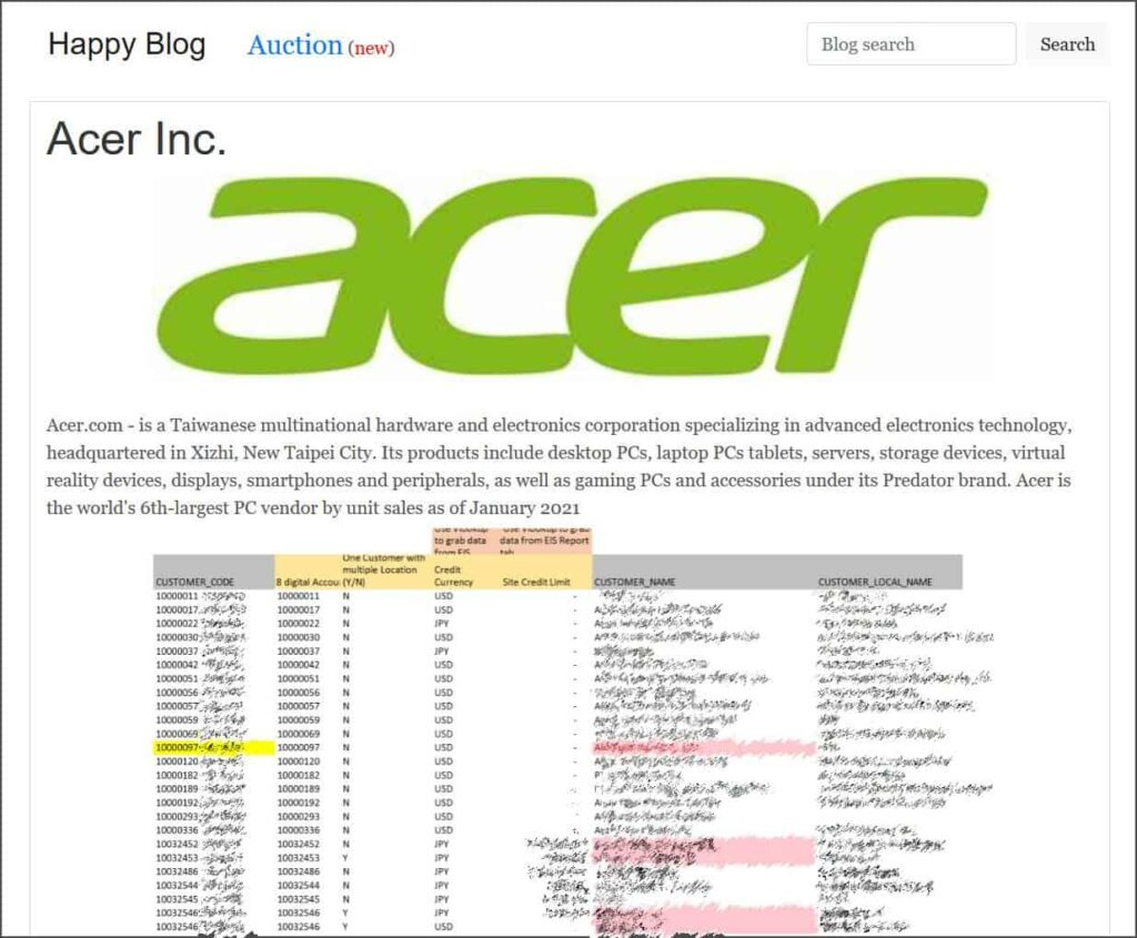 PC Giant Acer Reportedly Hit By $50 Million REvil Ransomware Attack