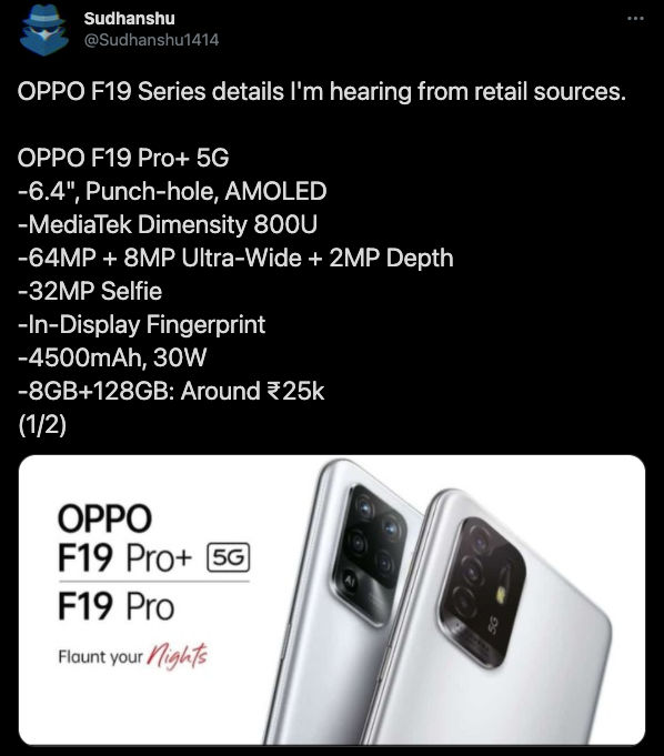 Oppo F19 Pro, F19 Pro+ 5G India Launch Teased, Key Specs Also Tipped