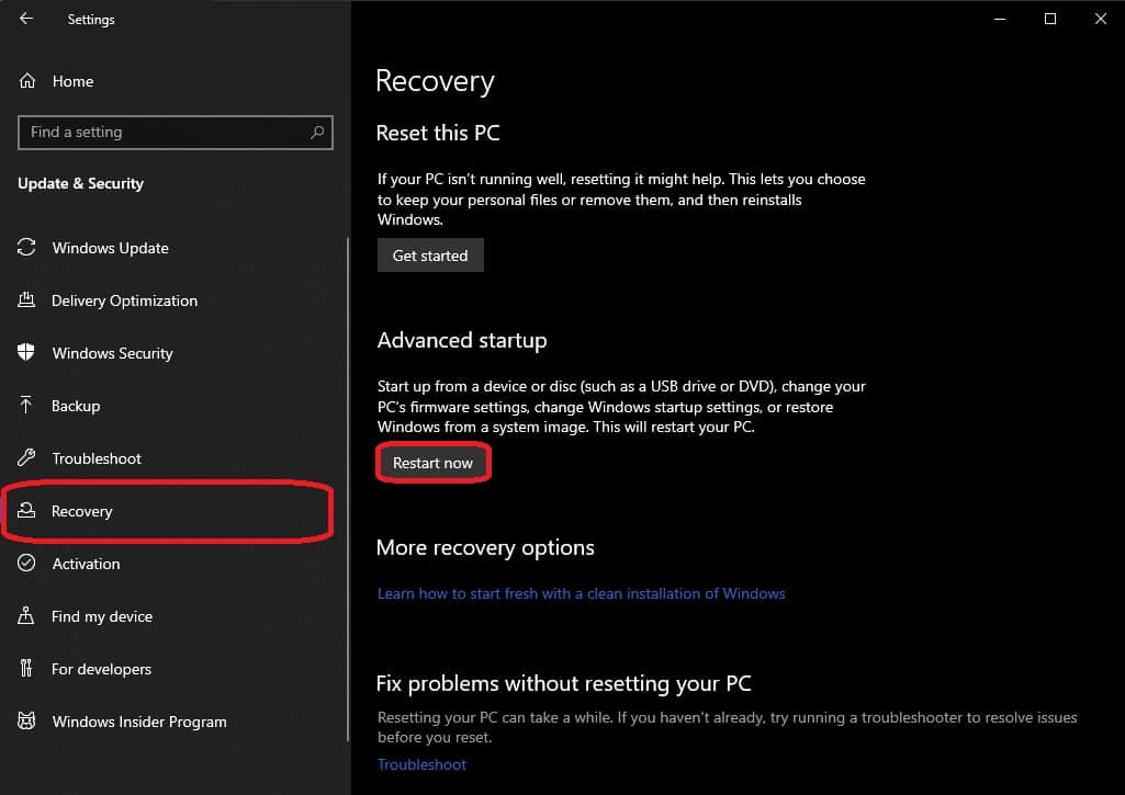 How to start Windows 10 in Safe Mode advanced start up