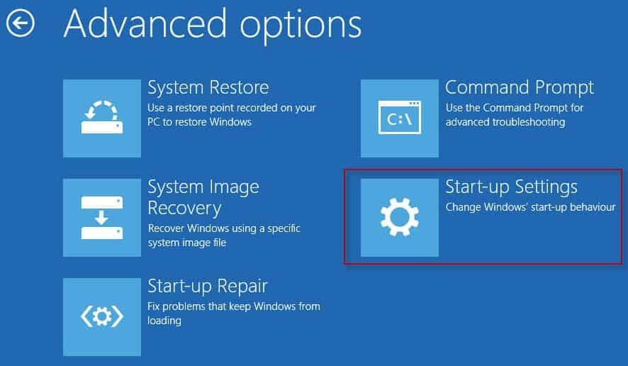 How to start Windows 10 in Safe Mode start up settings