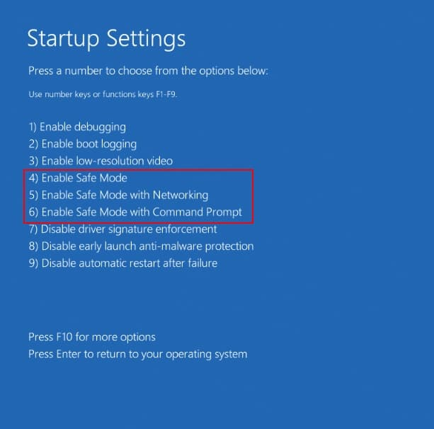 How to start Windows 10 in Safe Mode safe mode types