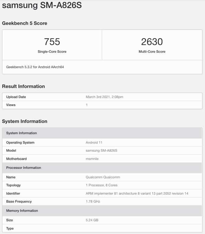Samsung Galaxy A82G 5G Spotted on Geekbench With Snapdragon 855 Plus SoC, 6GB RAM