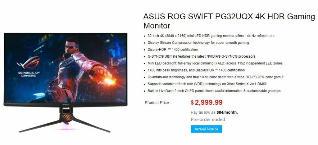 Asus launches world's first mini LED gaming monitor with HDMI 2.0