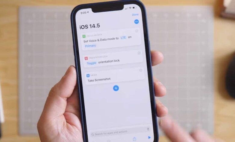 Apple iOS 14.5 Brings 5G/Dual Sim Actions, Orientation Lock, and Take Screenshot for Shortcuts