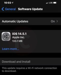 Apple iOS 14.5.1 update fixes the App Tracking Transparency greyed out bug