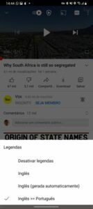English to Portuguese translation in YouTube app for mobile