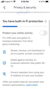 iPhone users can now use the in-built Google FI VPN