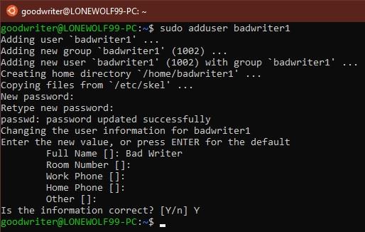 Ubuntu terminal commands and shortcuts adduser