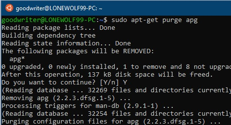 Ubuntu terminal commands and shortcuts apt-get purge
