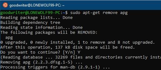 Ubuntu terminal commands and shortcuts apt-get remove