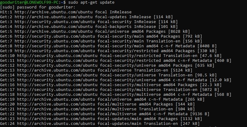 Ubuntu terminal commands and shortcuts apt-get update