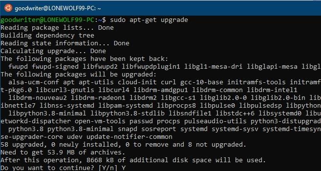 Ubuntu terminal commands and shortcuts apt-get upgrade