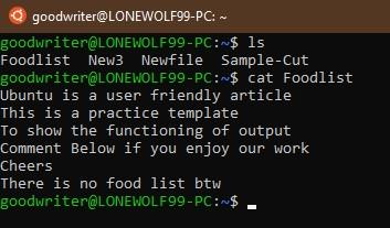 Ubuntu terminal commands and shortcuts cat