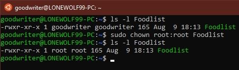 Ubuntu terminal commands and shortcuts chown