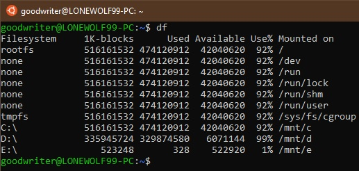 Ubuntu terminal commands and shortcuts df