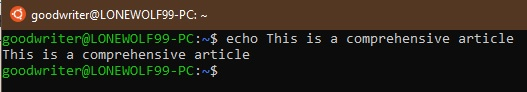 Ubuntu terminal commands and shortcuts echo