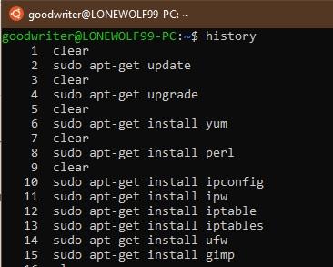 Ubuntu terminal commands and shortcuts history