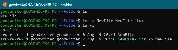 Ubuntu terminal commands and shortcuts ln