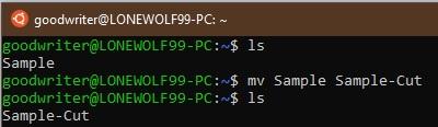 Ubuntu terminal commands and shortcuts mv
