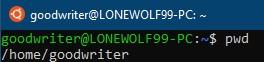 Ubuntu terminal commands and shortcuts pwd