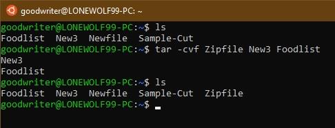 Ubuntu terminal commands and shortcuts tar compress