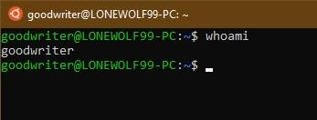 Ubuntu terminal commands and shortcuts whoami