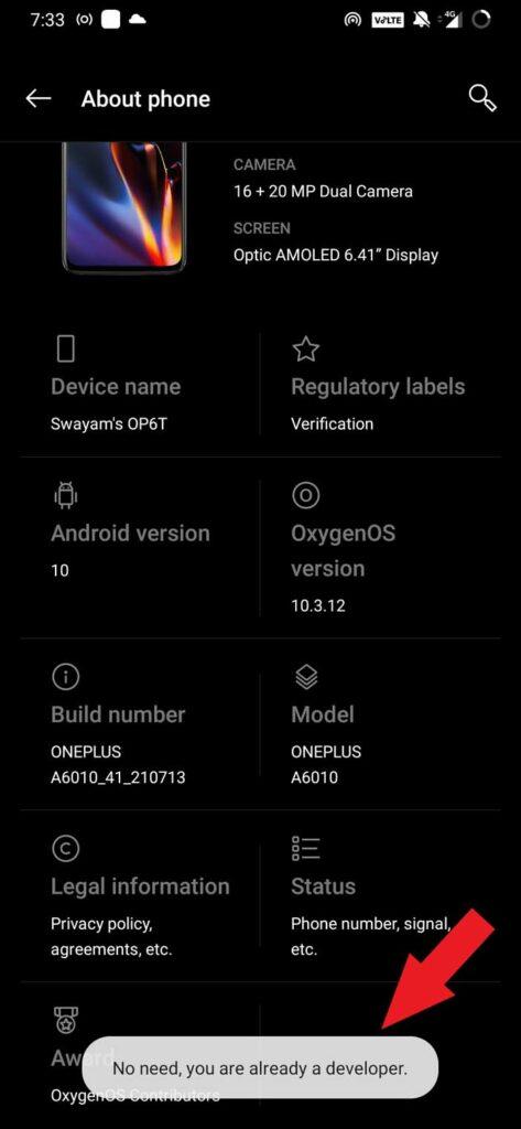 developer option enabled