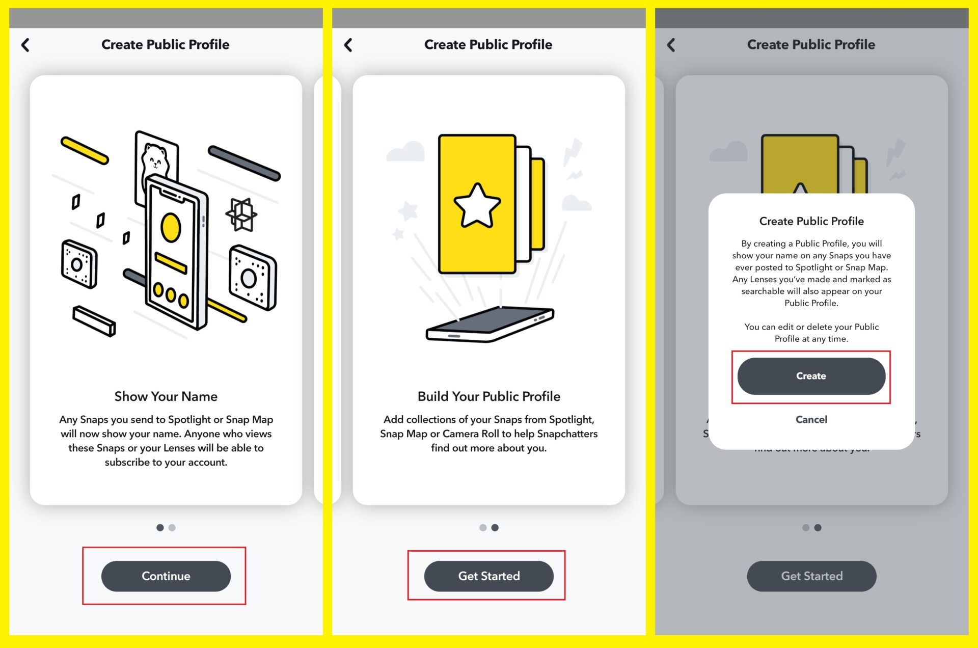 Create a public profile on Snapchat - Get Started page