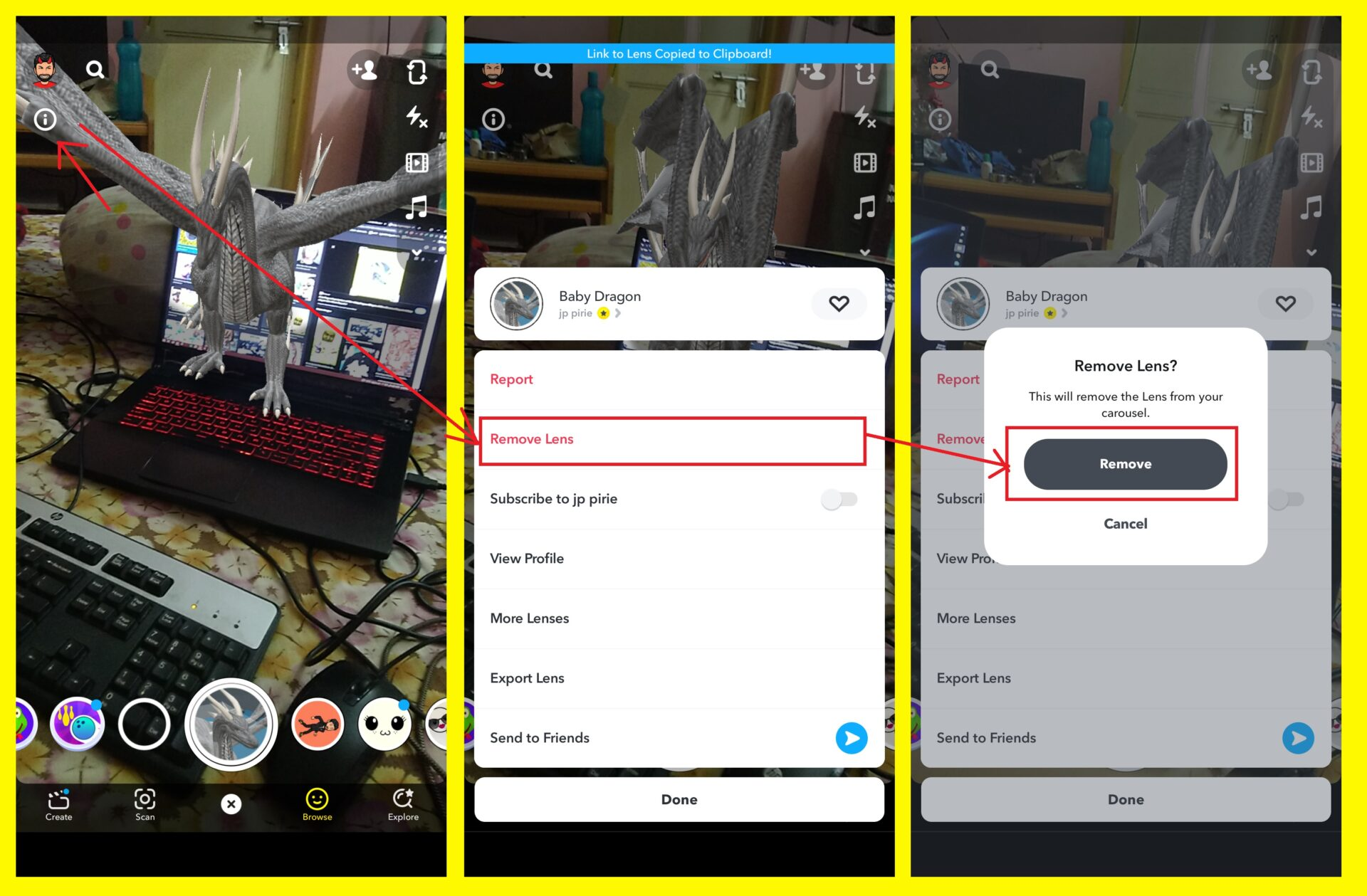 How to Delete a lens or filter from Snapchat Carousel