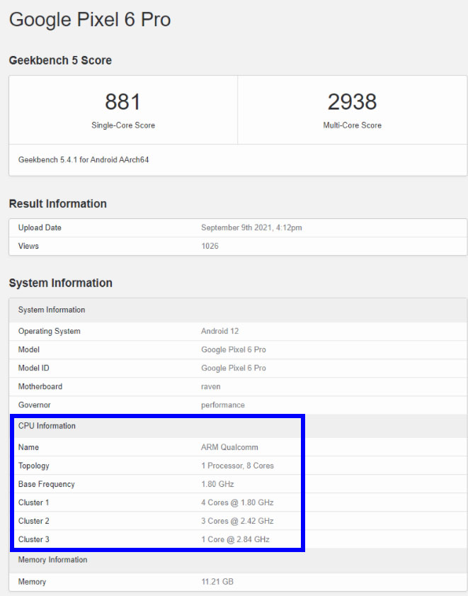 Google Pixel 6 Pro Geekbench Listing says more about Tensor chipset