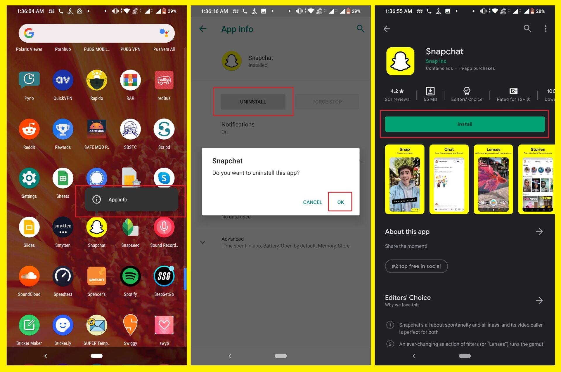 Reinstall Snapchat