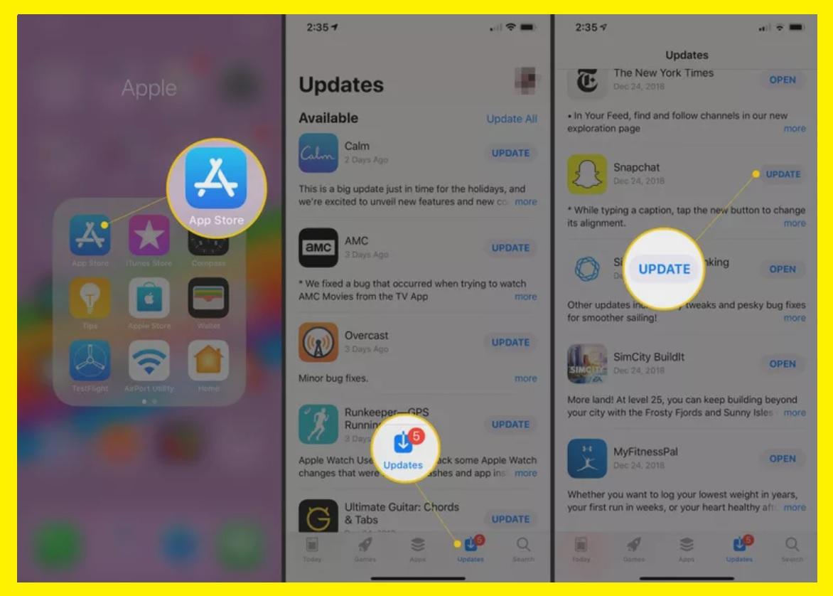 Updating Snapchat via Apple Store iOS