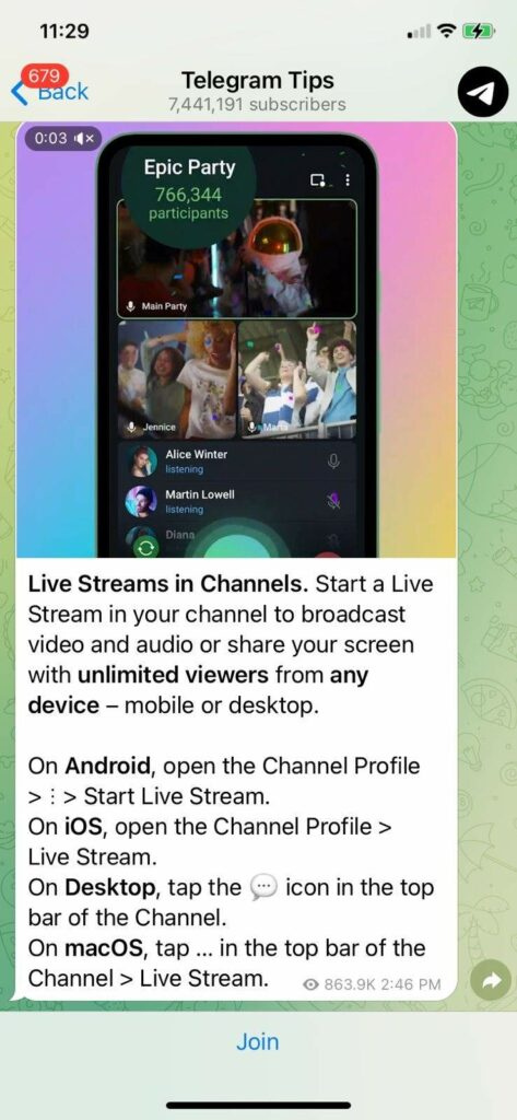 Telegram 8.0 version brings live streaming with no watch restrictions