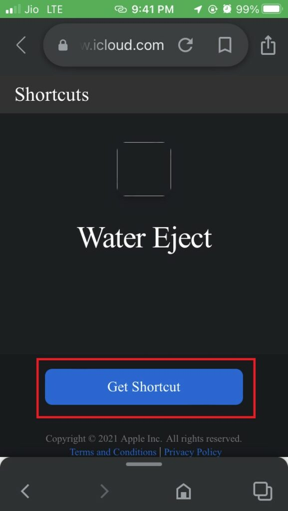 water eject shortcut for iPhone
