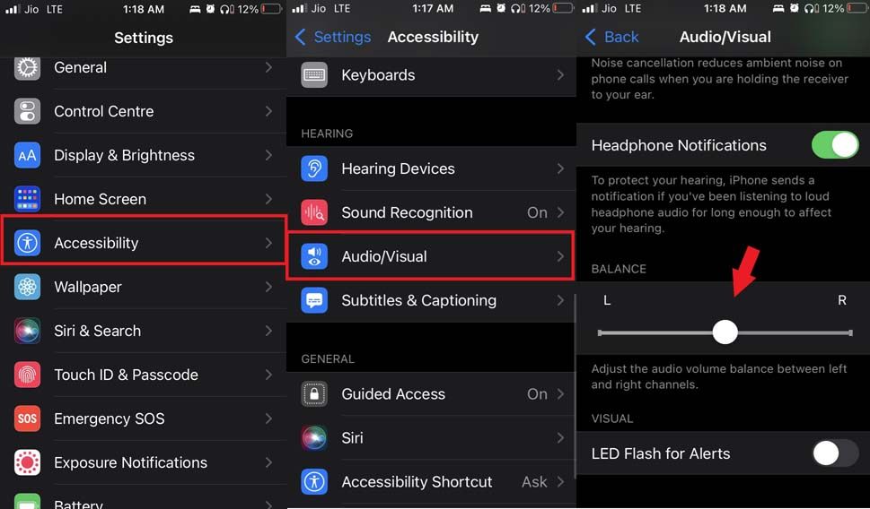 check audio output balance in iOS
