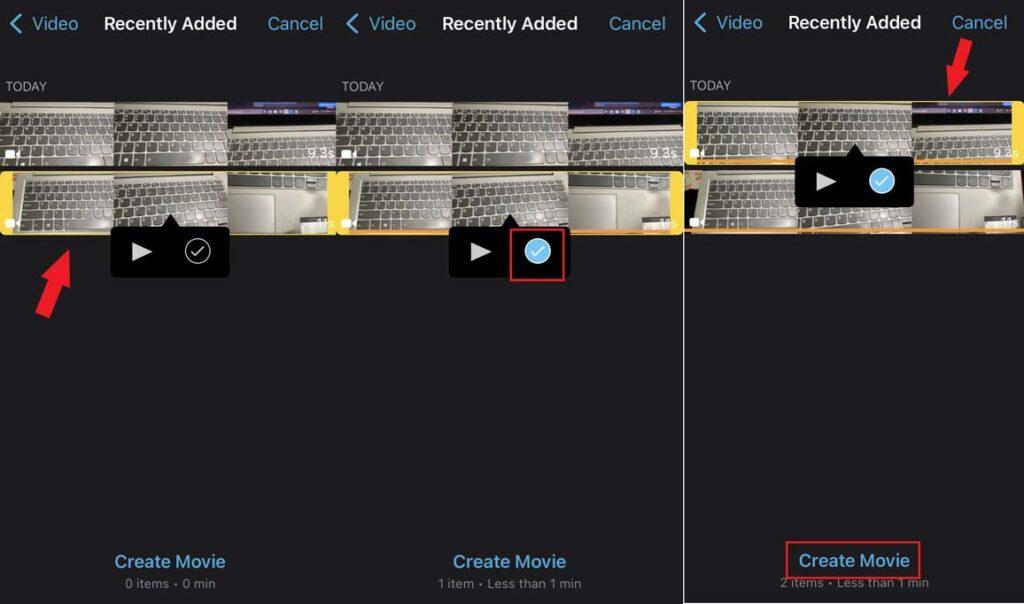 merge clips and Create movie on iMovie